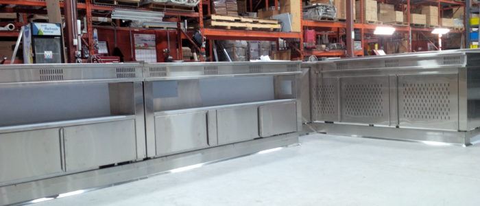Before - 3M Di-Noc for stainless servery cabinet